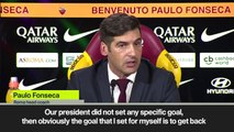 "(Subtitled) ""Goal is to get back Roma to the Champions League"" new coach Fonseca"