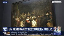 """Les visiteurs du Rijksmuseum d'Amsterdam vont pouvoir observer la restauration du célèbre tableau la """"Ronde de nuit"""" de Rembrandt"""