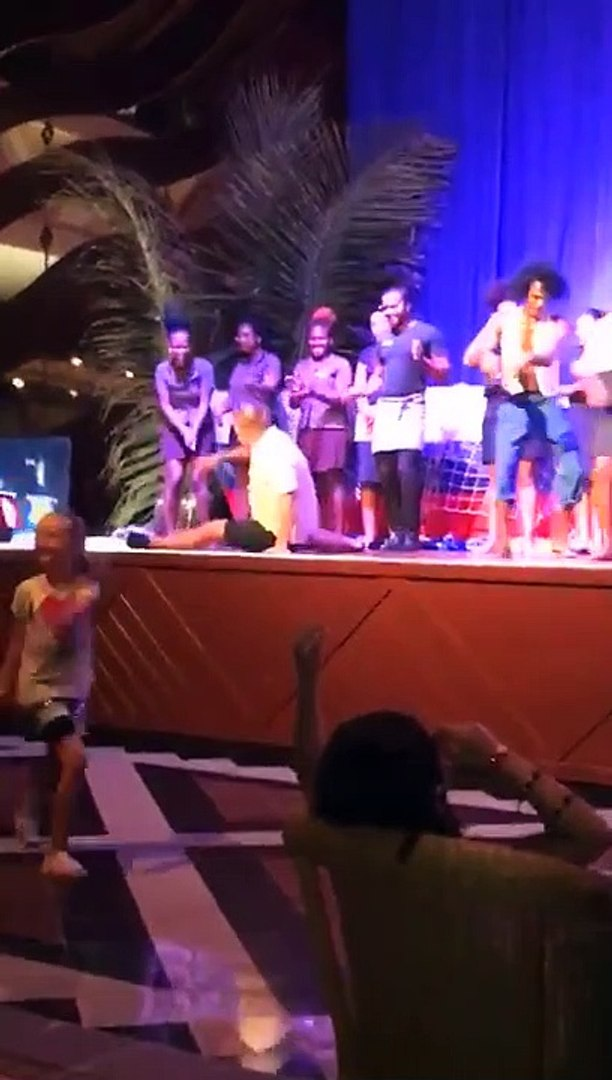 Lad dances on stage with the holiday entertainment