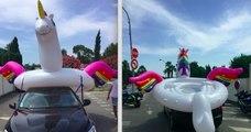 Il accroche une bouée en forme de licorne sur le toit de sa voiture, la gendarmerie le verbalise