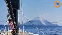 Ils filment l'éruption du Stromboli depuis leur bateau