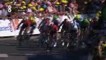 Elia Viviani sprints to victory on stage four of the Tour de France