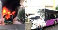 Belediye otobüsü alev alev yandı, özel halk otobüsü minibüse çarptı!