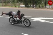 A worrying trend: Young men perform dangerous bike stunts on Karur highway