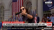 U.S. Women's soccer team honored at New York City Hall. #NewYork @CarliLloyd @alexmorgan13