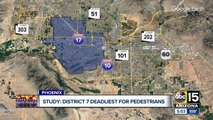 Which district in Arizona is the deadliest for pedestrians?