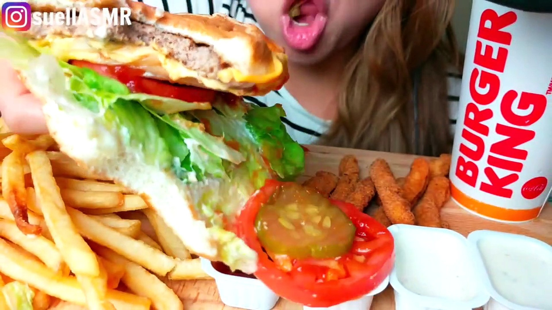 Asmr No Talking *no talking* asmr burger king whopper mukbang 먹방 french fries & chicken  fries