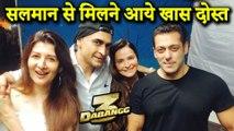 Salman Khan Poses With Sangeeta Bijlani And Mohnish Bahl On The Sets Of Dabangg 3