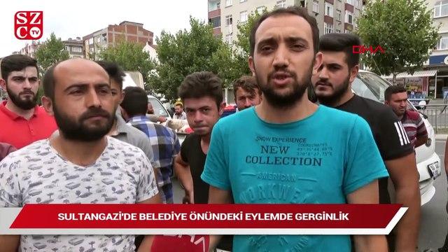 Sultangazi'de belediye önünde domatesli eylem
