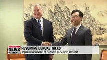 Top nuclear envoys from Seoul and Washington vow to continue working toward resuming denuke talks with Pyeongyang
