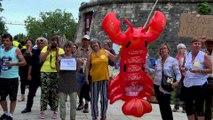 François de Rugy : des manifestants brandissent un homard géant à Niort