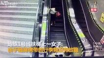 Quand tu es trop pressé dans l'escalator... Belle gamelle