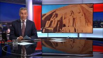 An artist creates a replica of the Egyptian temples of Abu Simbel