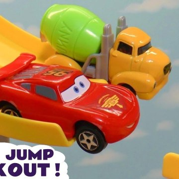 Hot Wheels with Disney Pixar Cars 3 Lightning McQueen Jump Knockout vs DC Comics and PJ Masks with Transformers Bumblebee in this Family Friendly Toy Story Full Episode