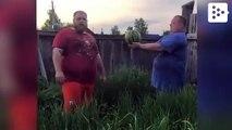 Slap world champion destroying a watermelon