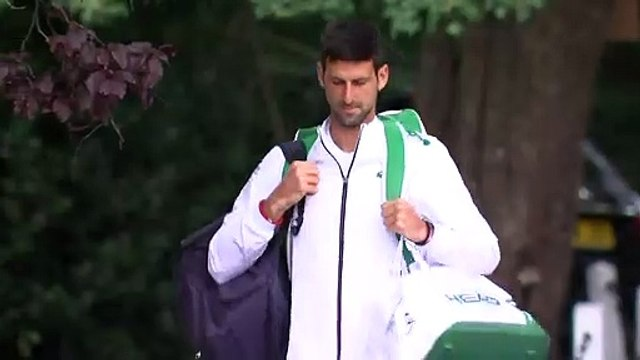 Novak Djokovic arrives at Wimbledon for semi-final