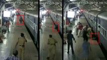 RPF जवान ने ट्रेन में चढ़ने की कोशिश कर रही महिला को पहिए के नीचे कटने से बचाया, वीडियो