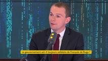 """Affaire de Rugy : """"Le gouvernement est toujours solidaire"""", affirme Olivier Dussopt qui rappelle que """"à ce stade, il n'y a rien qui entre dans le champ de la légalité, il n'y a pas d'enquête ou d'information judiciaire ouverte""""."""