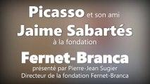 Picasso et son ami Jaime Sabartés à la fondation Fernet-Branca à Saint-Louis (France / Alsace)
