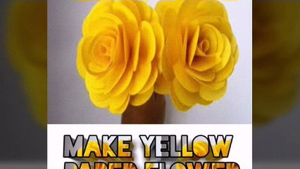 Easily make yellow colour paper flower step by step guide
