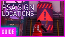 Fortnite: Search Public Service Announcement Signs At Neo Tilted, Pressure Plant, and Mega Mall | Se