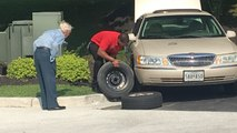 Chick-fil-A manager helps change 96-year-old World War II veteran's tire