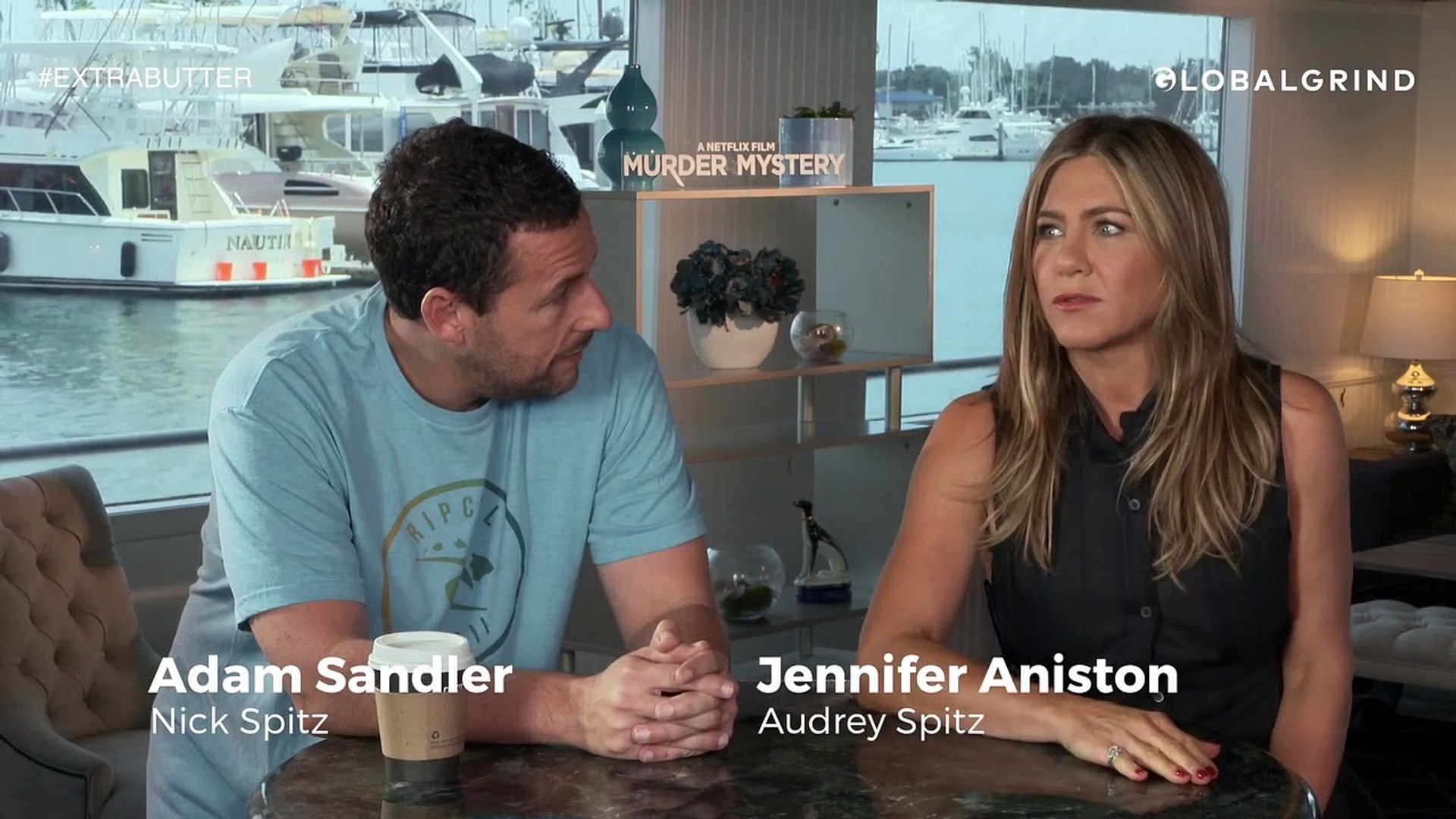Adam Sandler Clowns Jennifer Aniston On Taking Long To Do Murder Mystery    Extra Butter