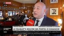 Regardez la pré-ouverture du Fouquets ce midi sur les Champs Elysées avant l'inauguration officielle demain, 4 mois après avoir été saccagé