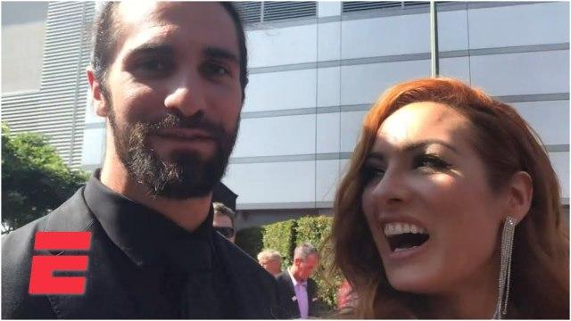 Seth Rollins calls Jon Jones a chump, Becky Lynch talks Ronda Rousey, MMA _ 2019 ESPYS Red Carpet