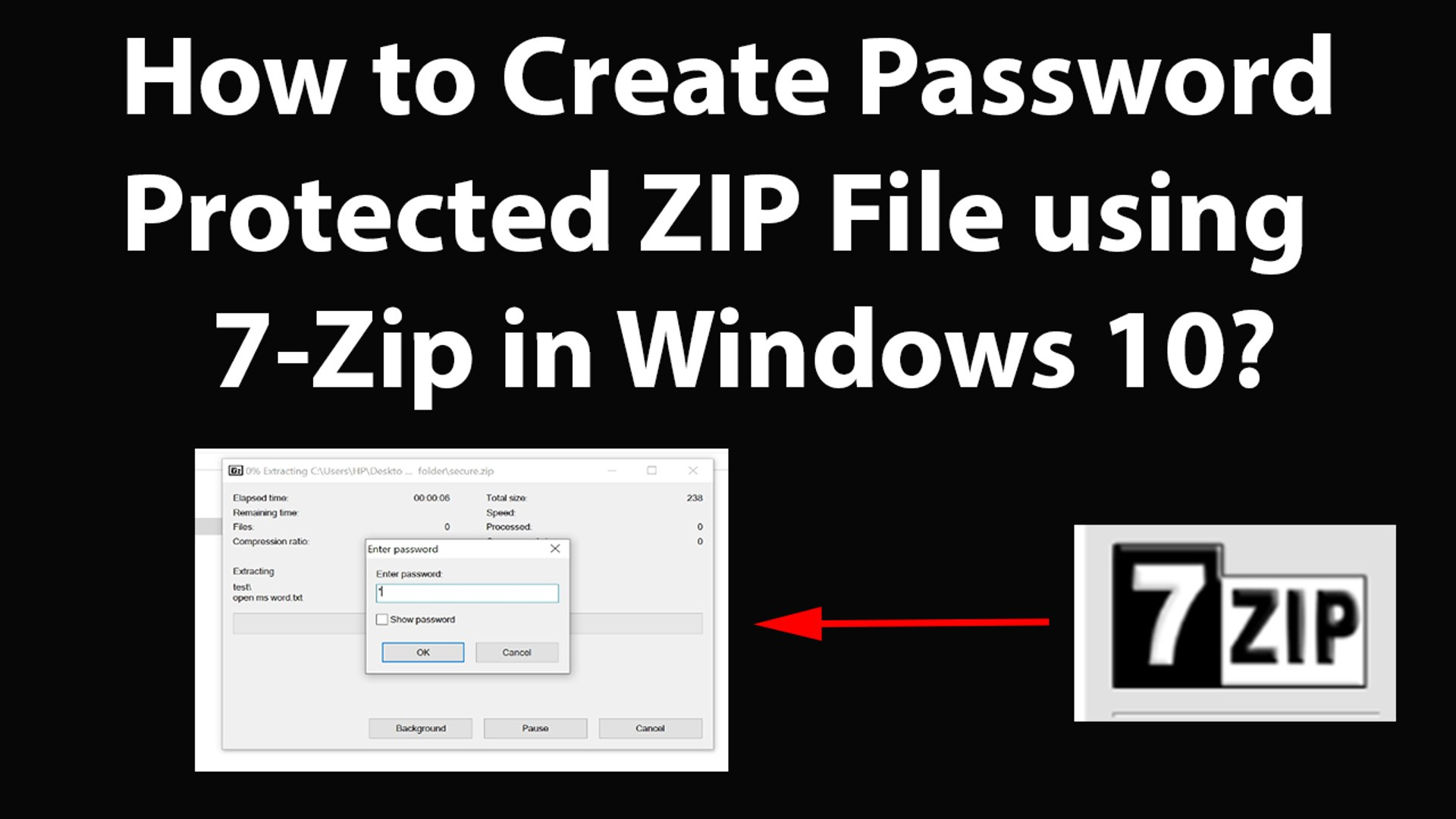 how to password protect a zip folder windows 10