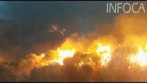 Continúan las labores de extinción del incendio de Terque (Almería).