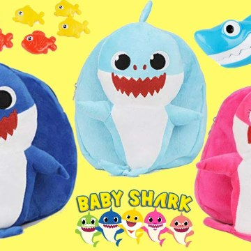 Pink Fong Baby Shark Back Pack with Mommy, Daddy, Toys, Song Books - More