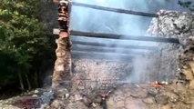 Spil Dağı'nda yıldırım düşmesi sonucu ağaç ve yanındaki boş kulübe yandı