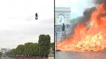 Nationalfeiertag in Paris: Parade, Proteste und Flyboard