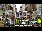 G7: à Bayonne, ces manifestants brandissent des portraits de Macron
