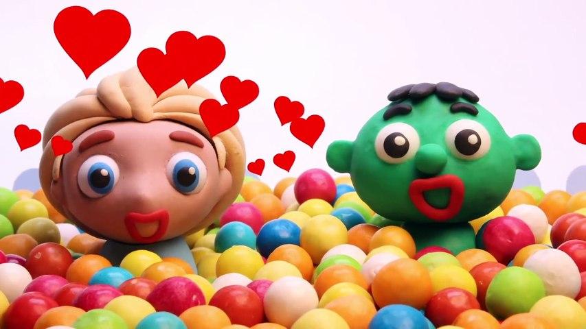 SuperHero Play Doh Cartoons For Kids ❤ Spiderman Hulk and Frozen Elsa and Anna  Part #43