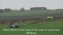 Car leaves road in Whitburn and overturns in field