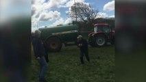 A farmer sprayed manure at Emma Thompson