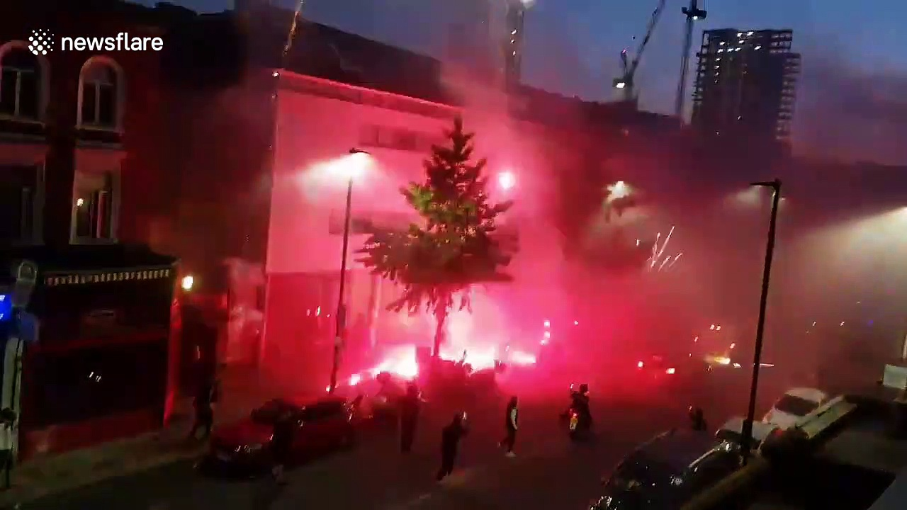 Algerian football fans in London celebrate African Cup of Nations victory