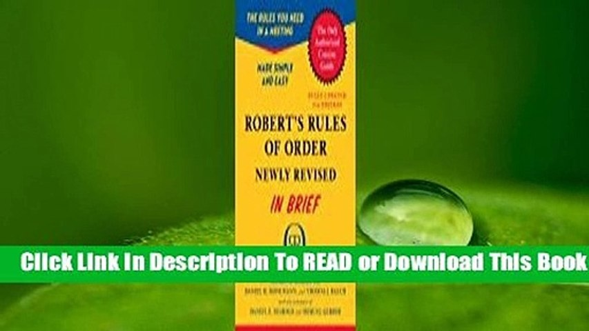 About For Books  Robert's Rules of Order Newly Revised In Brief, 2nd edition  Review