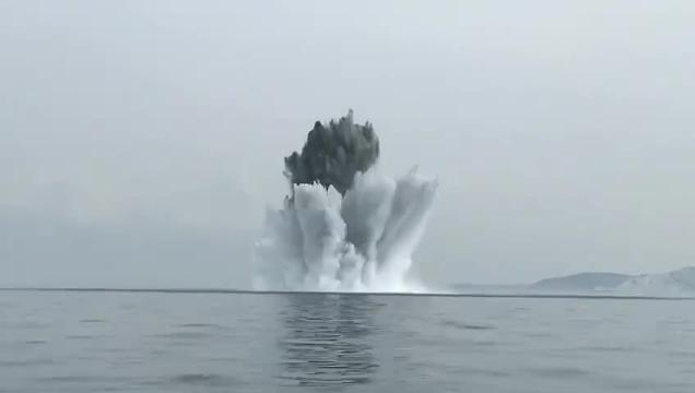 Water soars as Royal Navy bomb disposal experts safely destroy a 2,000lb German sea mine, which was dredged up by a fishing boat. Picture: Portsmouth Naval Base on Twitter (@HMBNPortsmouth)