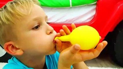 Vlad and Nikita fun playtime kids play with balloons