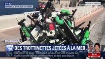 À Marseille, des dizaines de trottinettes électriques sont jetées à la mer et polluent les côtes
