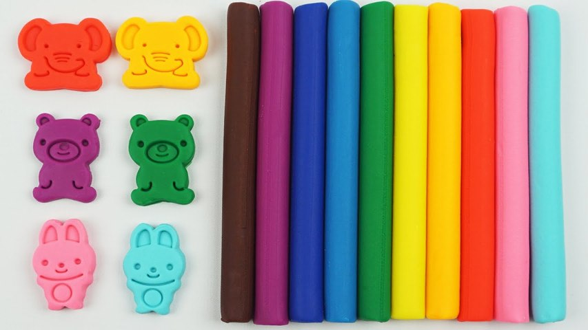 Learn Colors Play Dough Modelling Clay with Elephant Bear and Rabbit Molds