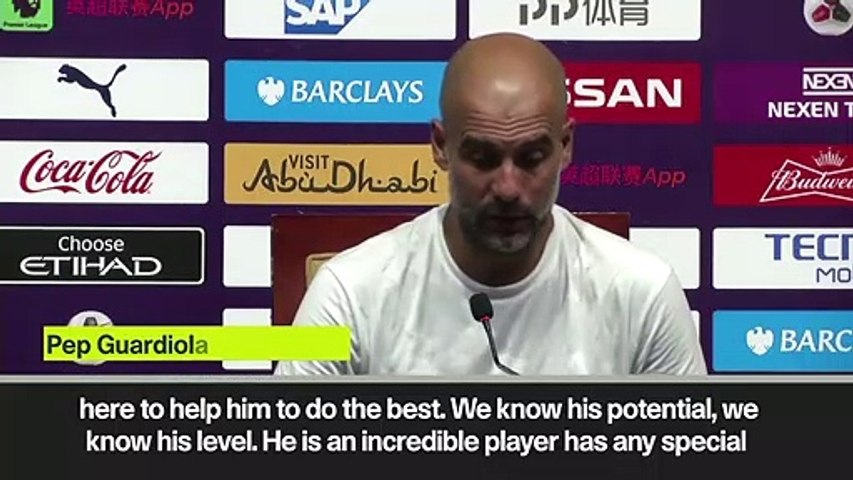 (Subtitled) Guardiola tells Sane he wants 'happy' players at Man City
