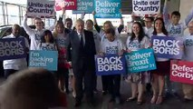 Boris Johnson arrives at final hustings event