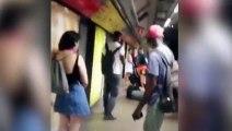 Violenta pelea entre carteristas y vigilantes de metro