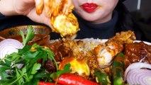 ASMR SPICY CHICKEN CURRY + RICE + CHILLI + ONION + SPICY EGG - KARI AYAM