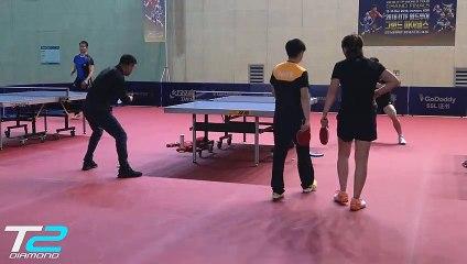 卓球  Fan Zhandong training with coach Wang Hao