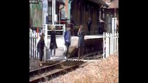 People stop to take photos on level crossing in Derbyshire